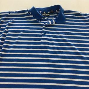 Vintage Boss Striped Polo Shirt L Blue